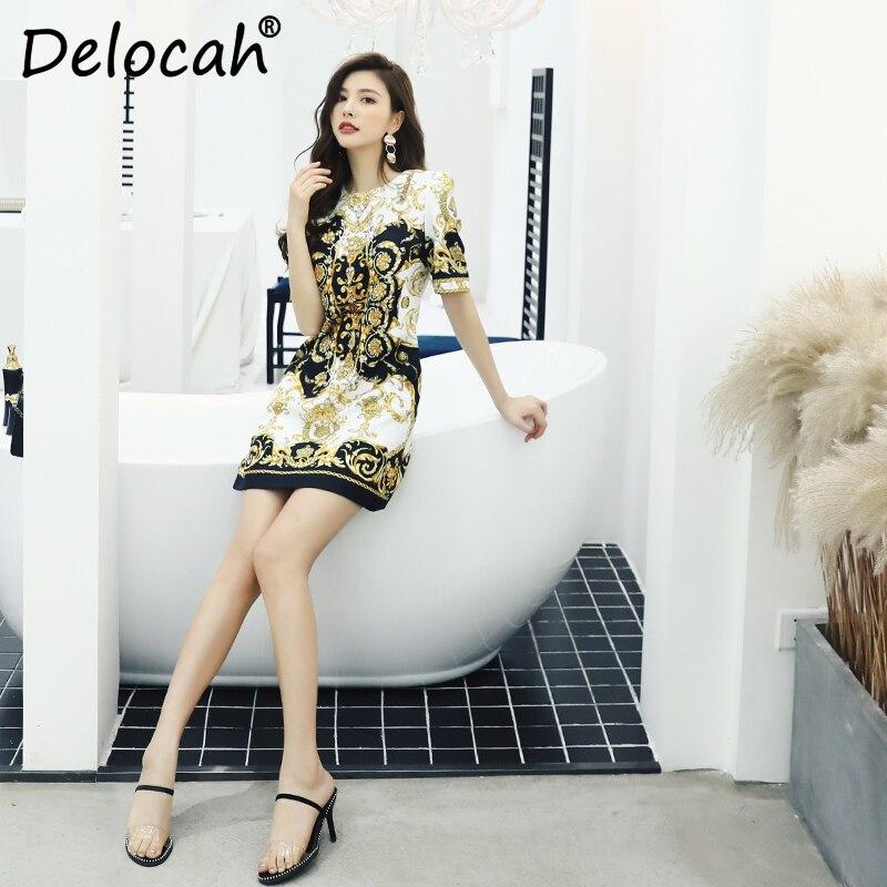 Delocah femmes printemps été robe piste styliste à manches courtes magnifique cristal Vintage imprimé Slim a ligne robes de dame-in Robes from Mode Femme et Accessoires    3