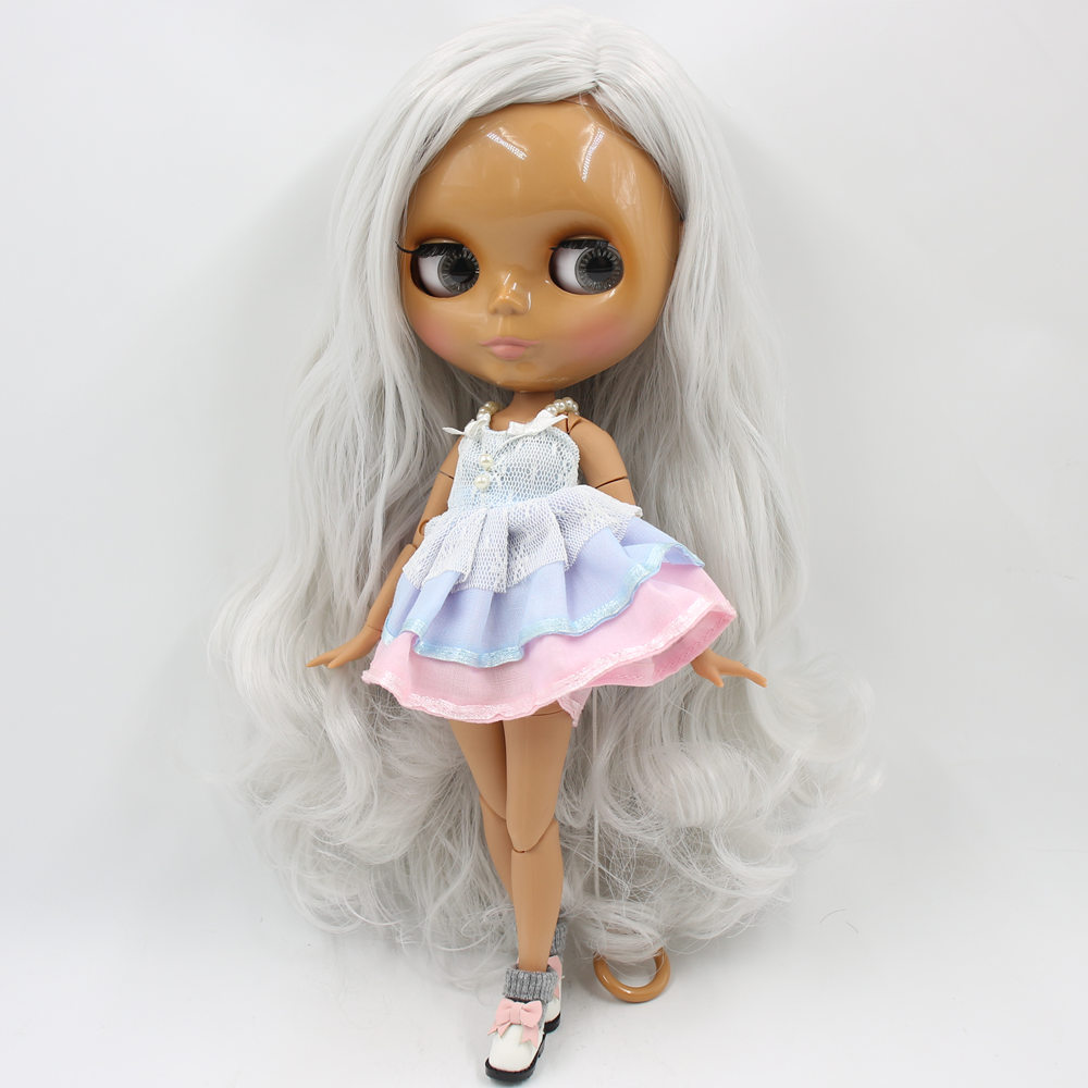 ICY Nude Factory Blyth doll No BL1003 Grey White hair Side part hair style JOINT body