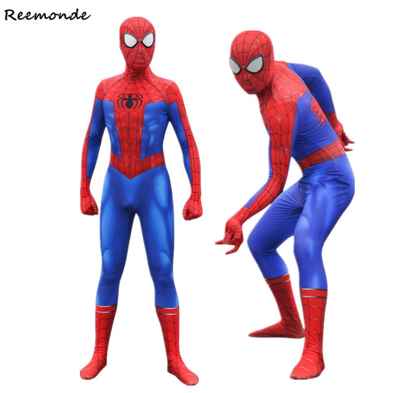 Movie Spider Man Peter Parker Cosplay Costumes Spiderman 3D Printed Zentai Jumpsuit Bodysuit Man Boys Halloween Party Clothing