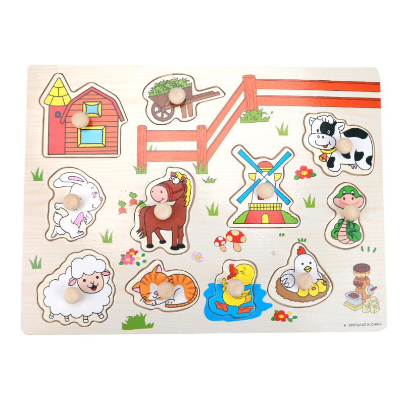Baby Hand Grasp Knob Pegged Puzzle Wooden Vehicles Cognitive Board Jigsaw Puzzle font b Toy b