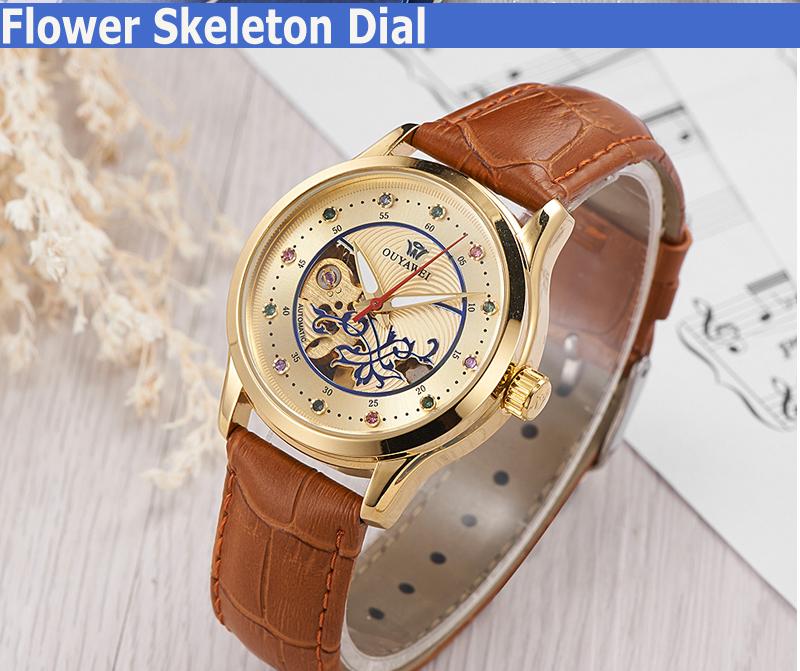 d9758cae11a OUYAWEI Luxo Moda Senhoras Relógio Mulheres Vestido Relógios De Pulso De  Couro Esqueleto Mecânico Automático de Ouro Meninas Relogio feminino
