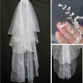 Hot Sell  2 layers Beads Pearls White/Ivory Wedding Bridal Veil With Comb For Bridal Headwear Accessories