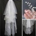 Venda quente 2 camadas Beads pérolas branco / marfim véu de noiva casamento com pente para nupcial Headwear acessórios