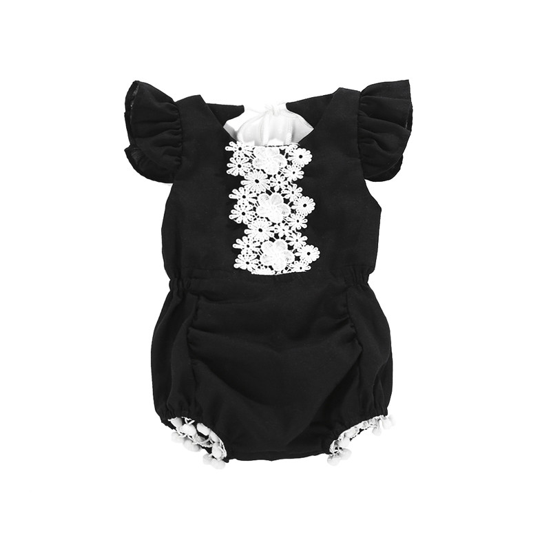 2018 Casual Style Summer Newborn Baby Halter Bodysuit Baby Girls Clothes Black Lace Backless Jumpsuit Playsuit Beachwear Costume