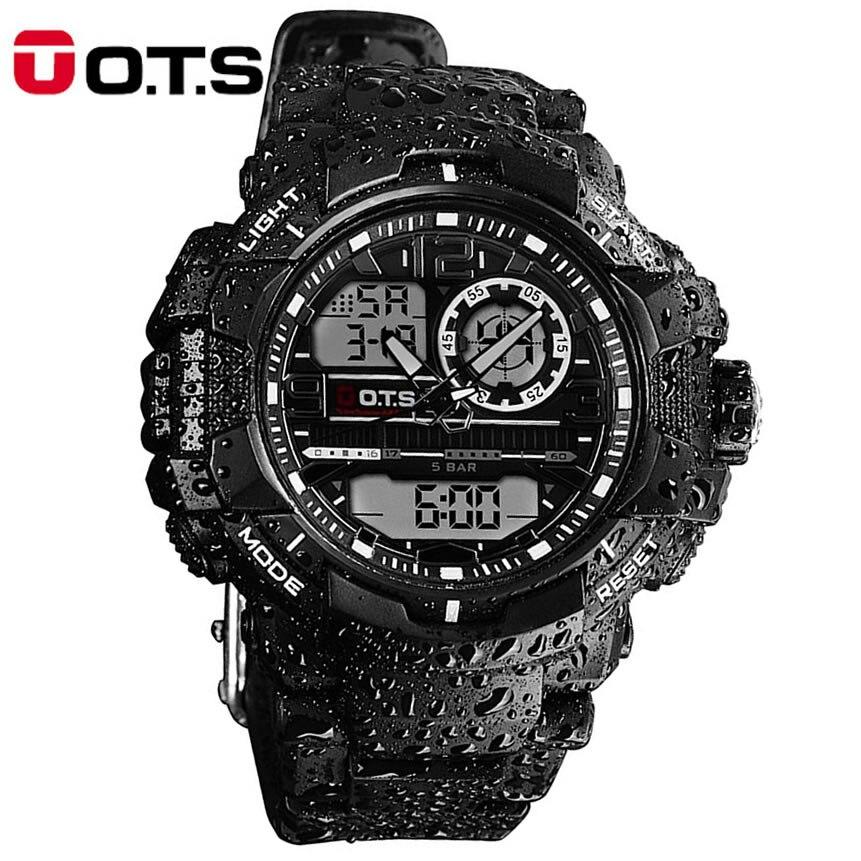 Mens Sports Watches Quartz OTS Brand Fashion Outdoor Waterproof Multifunction LED Digital Watch Military Men's Clock Wristwatch