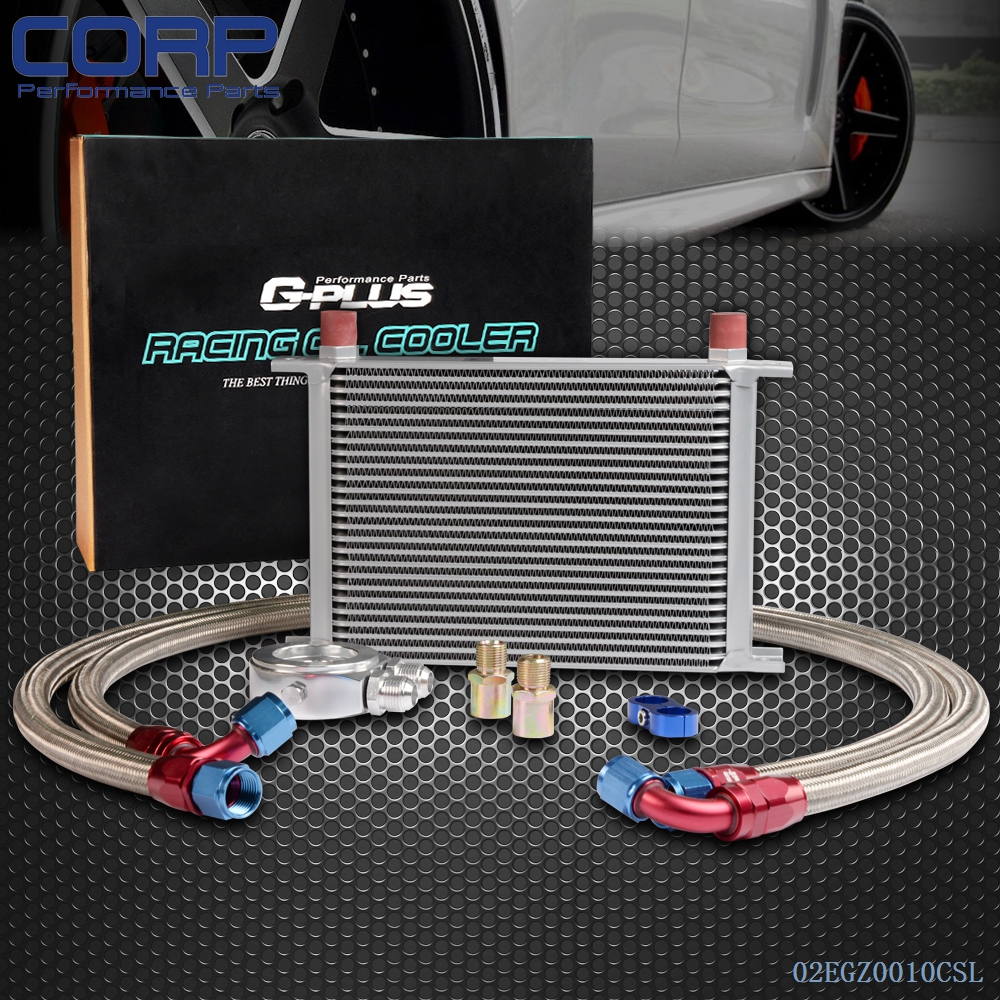 25 ROW AN-10 Universal Engine Transmission Oil Cooler + Filter Relocation Kit