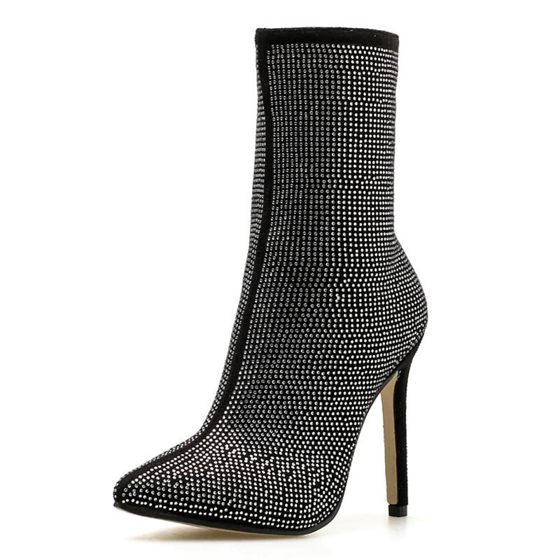 Dedo Las Más Para Apricot Tacón Cremallera Mujeres Puntiagudo Moto Botas Mujer Alto H Tobillo Zapatos negro Sexy 078 De PArgP1wq