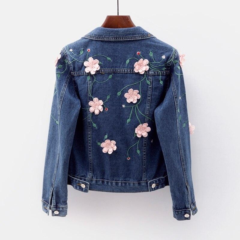 Denim Coat Short Women's Tops Spring Autumn Slim Embroidery Jeans   Jacket   Single-breasted Vintage Casual Denim   Jacket     Basic   Coat