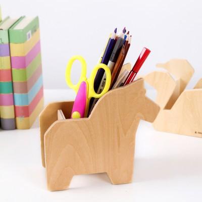 Desktop Simple Animal Pen Holder Wood Holder Stationery