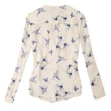 Chic Women s V Neck Long Sleeve Shirt Chiffon Blouse Flying Birds Print Slim Top