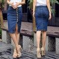American Apparel Calça Jeans Lápis Mulheres Saias Jeans Botão Fino Cintura Alta Plus Size 6XL Sexy Saia Azul de Verão MF789641