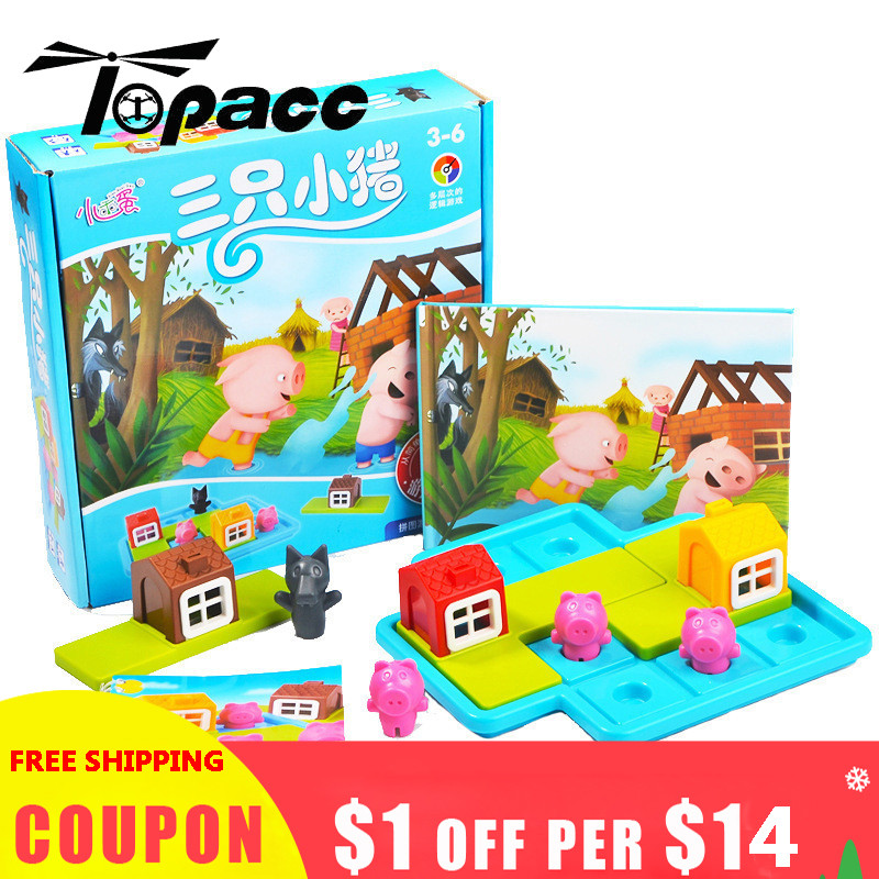 Intelligence Hot Sales Colorful Three Pigs Little Puzzle Board Game Toys For Children Kids Christmas Gift Educational Puzzles