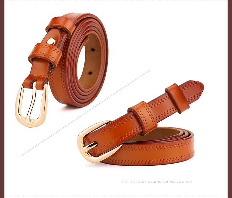 CASTELLES Split Leather Belts For Women Thin Strap Fashion Belt Female Genuine Leather Woman Metalic Buckle Girls High Quality (10)