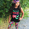 3Pcs Children Clothes 2017 Summer Holiday 1 6 Y Child Baby Girls Kids Mermaid T Shirt
