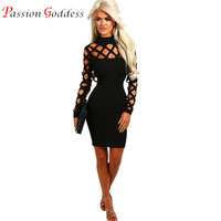New Plus Size Women 2016 Summer Sexy Solid Bandage Dress O Neck Long Sleeve Bodycon Hollow