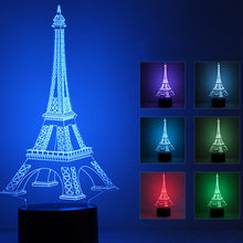 3D Night Light 7 Color Eiffel Tower Desk Lamp T uch/Switch Controll USB LED Night Light Home Decor Christmas Gift For Children(China)