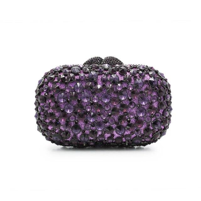 Women Purple Rhinestones Crystal Evening Clutche Bag Bridal Diamond Chains Shoulder Handbags Purses