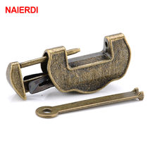 NAIERDI 44*25mm Chinese Vintage Antique style Lock Zinc Alloy Bronze padlock Jewelry Chest Box Padlock Wooden Suitcase Drawer(China)
