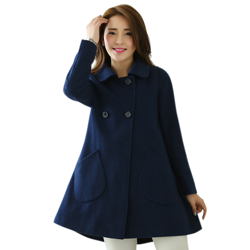 Women Autumn Coat Double Breasted Wool Peacoat Turn-down Collar Female Jacket -MX8