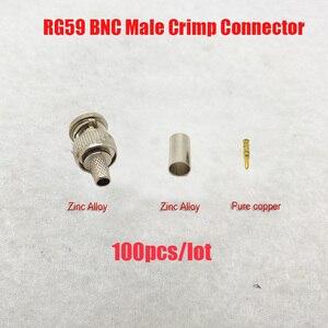 Image 1 - NOVOXY BNC erkek kıvrım fiş için RG59 koaksiyel kablo, RG59 BNC konektörü 3 piece sıkma konnektör fişleri RG59