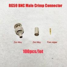 NOVOXY BNC męski wtyczka zaciskowa dla RG59 kabel koncentryczny, RG59 złącze BNC 3 zaciskane wtyczki złącza RG59