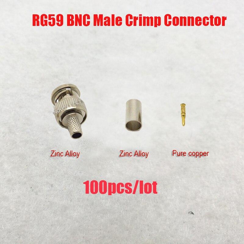 NOVOXY  BNC Male Crimp Plug For  RG59 Coaxial Cable, RG59 BNC Connector  3-piece Crimp Connector Plugs RG59