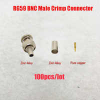 NOVOXY BNC male krimp plug voor RG59 coaxiale kabel, RG59 BNC Connector 3 stuk crimp connector stekkers RG59