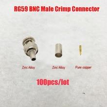 Plugue macho do friso de novoxy bnc para o cabo coaxial rg59, conector de rg59 bnc conector de 3 peças do friso plugues rg59