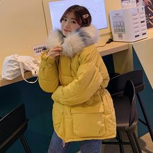 Winter Jacket Women Parkas for Coat Fashion Female Down Jacket With a Hood Large Faux Fur Collar Coat 2019 Autumn Outwear Ladies thicken zip up down coat with faux fur hood