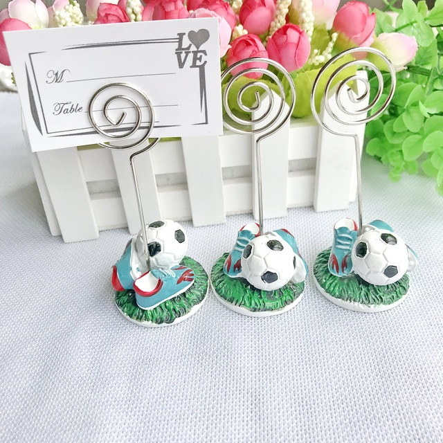 Free Shipping 18pcs Lot Soccer Themed Place Card Holders Wedding Table Centerpiece Football Name