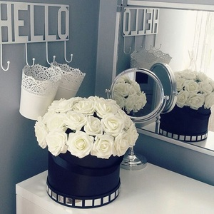 Image 1 - 25 머리 8CM 새로운 다채로운 인공 PE 거품 장미 꽃 신부 꽃다발 홈 웨딩 장식 Scrapbooking DIY 용품