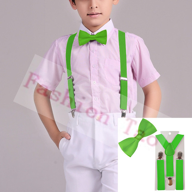 7874b477f765 2 PCS Green Children Kids Bowtie Boys Suspenders Butterfly Braces Sets  Wedding Party Kids Bow tie Wtr0003a01