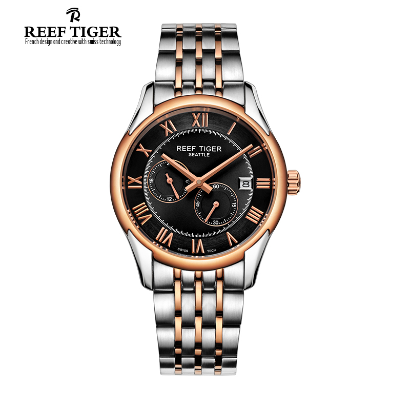 Reef Tiger/RT Business Watches For Men Rose Gold Stainless Steel Watch with Date Automatic Watch RGA165 tevise fashion auto date automatic self wind watches stainless steel luxury gold black watch men mechanical t629a with tool