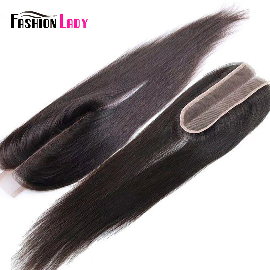 Fashion Lady Human Hair Brazilian Straight Weave Middle Part Closure 2x6 Lace Closure Bleached Knots Natural