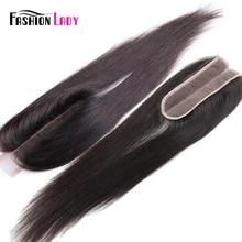 Модные женские человеческие волосы бразильский прямые накладные волосы средняя часть закрытие 2x6 Кружева Закрытие отбеленные узлы натуральный цвет не Реми