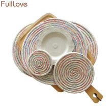FullLove Cotton Rope Weave Kitchen Table Mat Handmade Multicolor Round Placemat Bowl Plate Mats Coffee Tea Cup Pads Home Textile(China)