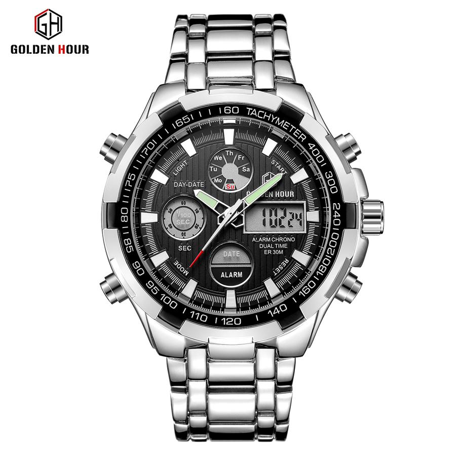 Relogio Masculino 2018 New Brand Men Silver Fashion Sport Watches Men's LED Quartz Digital Waterproof Full Steel Wrist Hot Sale все цены