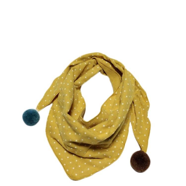 Весенние клетчатые треугольные шарфы в горошек для маленьких девочек; осенне-зимняя шаль для мальчиков и девочек; Детские хлопковые воротники; теплый детский шейный платок - Цвет: yellow dot