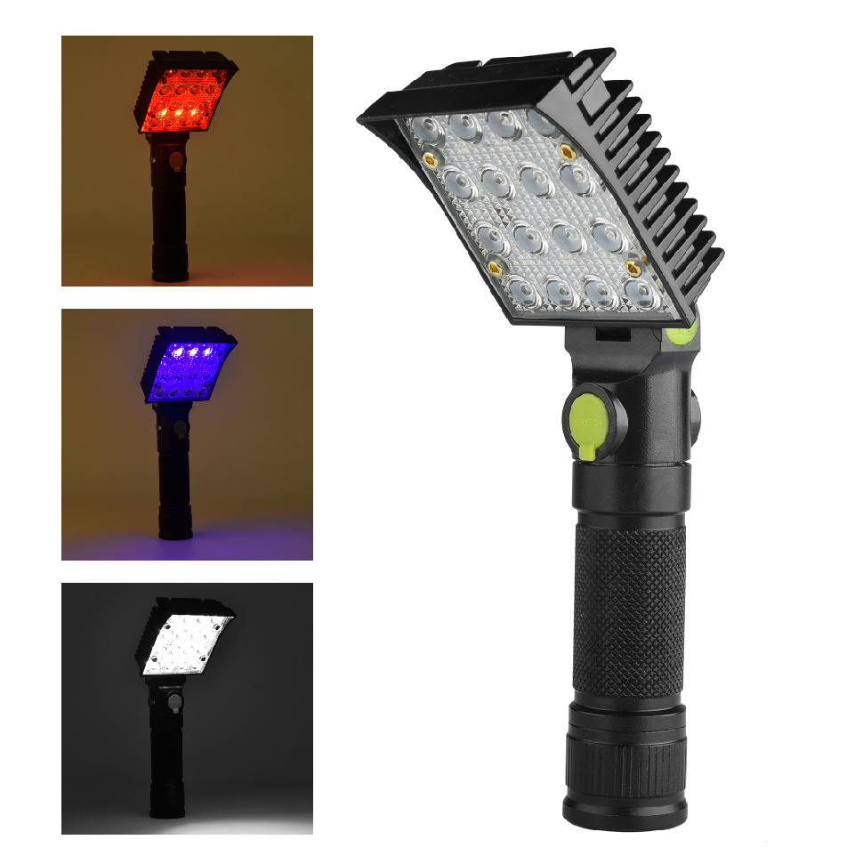 LED Flashlight Warning Light 12*(16 or 24)COB White +3(or 5)*LED Red +3(or 5)*LED Blu-ray Charger Circular (with USB cable) z50