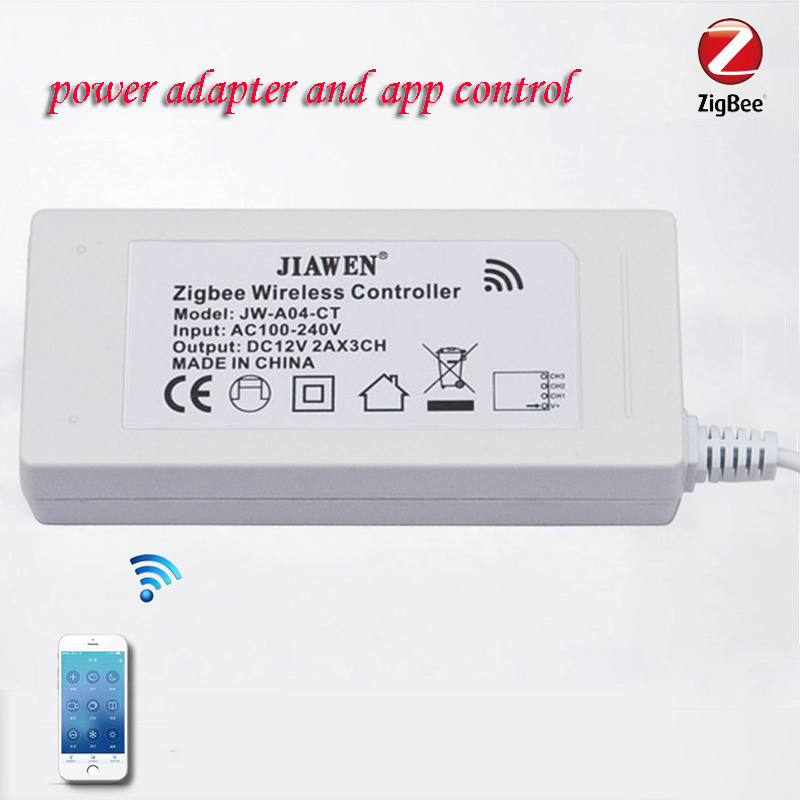 JIAWEN Zigbee bridge Led Controller RGB/RGBW/CT with DC 12V 2A Power Supply Support Strip Up to 5 m zigbee bridge led rgbw 5w gu10 spotlight color changing zigbee zll led bulb ac100 240v led app controller dimmable smart led