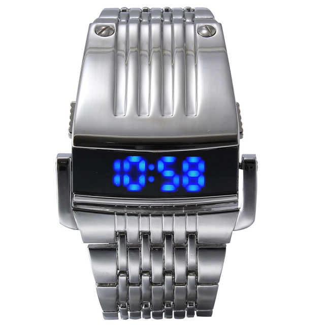 Iron Man Conception Blue Red LED Army Military Sports Dress Wrist Watch
