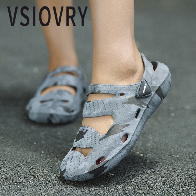 VSIOVRY 2018 Women Beach Shoes Summer New Camouflage Sandals For Men Lightweight Unisex Outdoor Anti-slip Garden Shoes Sandalias ...