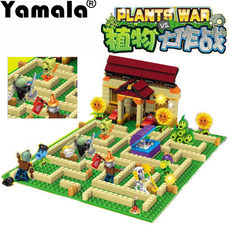 [Yamala] 2 style plants vs zombies can shoot struck game action toys & figures Building Blocks Bricks Compatible Legoingly gifts 52pcs set plants vs zombies pvz collection figures toy all the plants and zombies figure toys free shipping