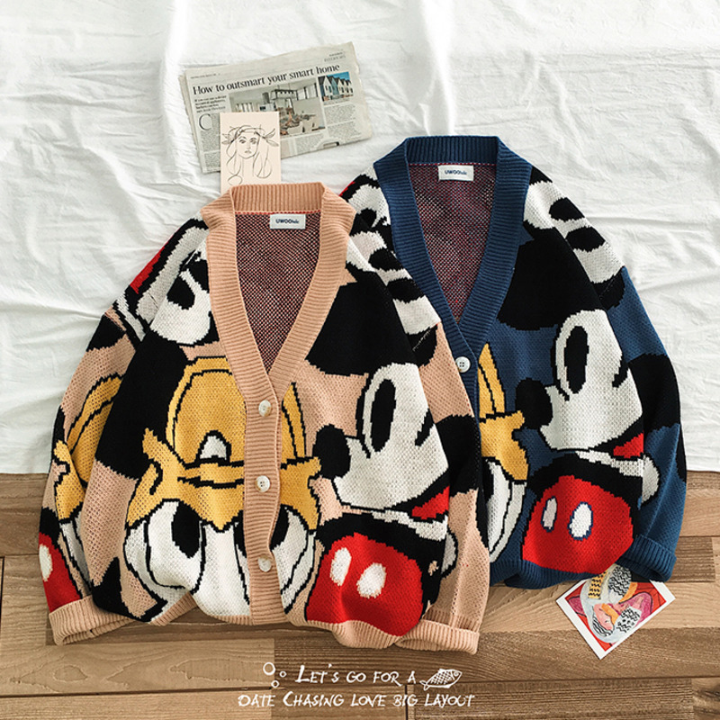 2019 Autumn New Korean Men's Japanese Cotton Loose Original Mickey Mouse Tang Laoka Cardigan Sweater