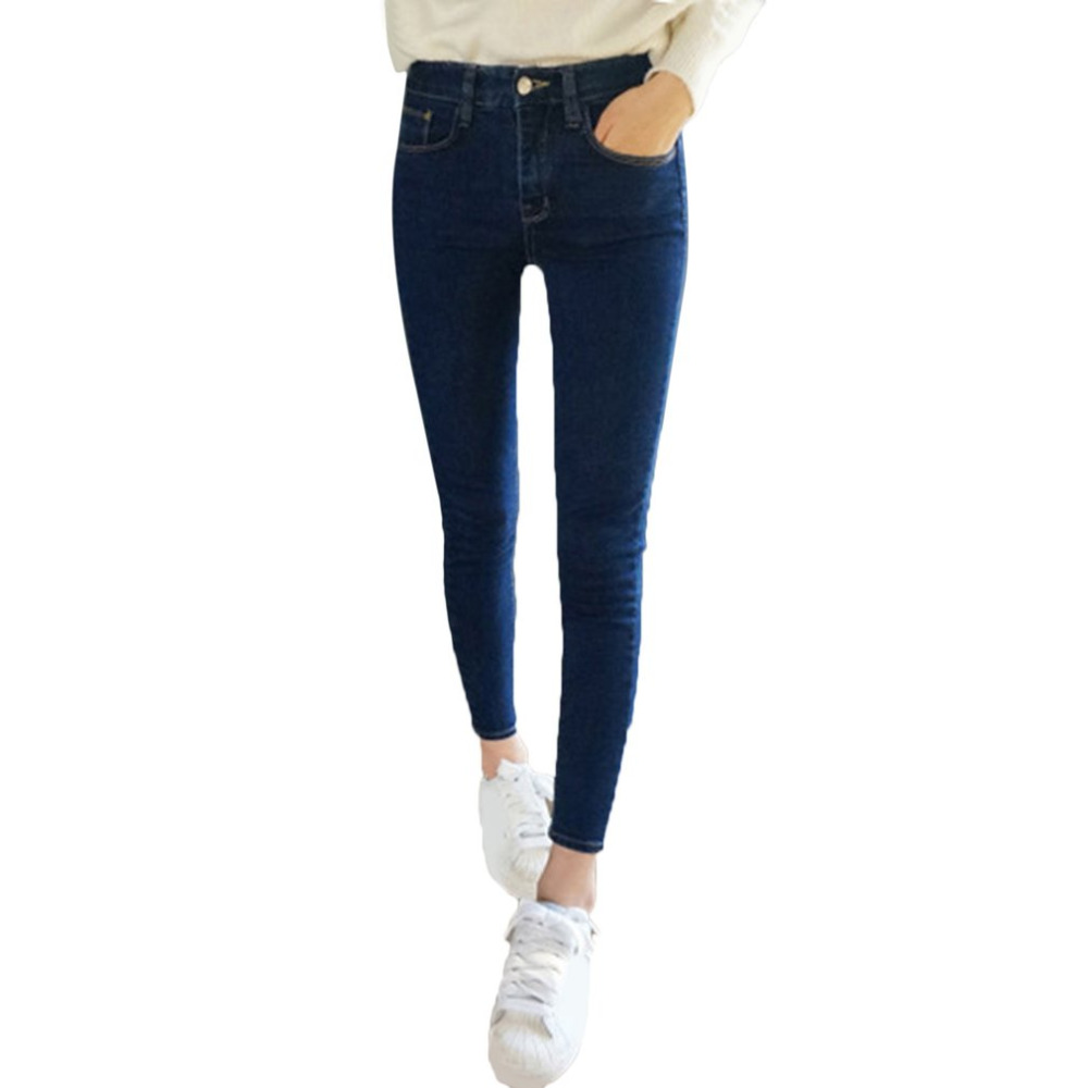 Women Fashion Jeans Denim Pencil Pants Girl High Waist Jeans Sexy Slim Elastic Skinny Stretch Pants Trousers Fit Jeans Plus size 2017 new fashion women elastic waist high waist skinny stretch jeans female spring jeans pencil pants plus size full length sexy
