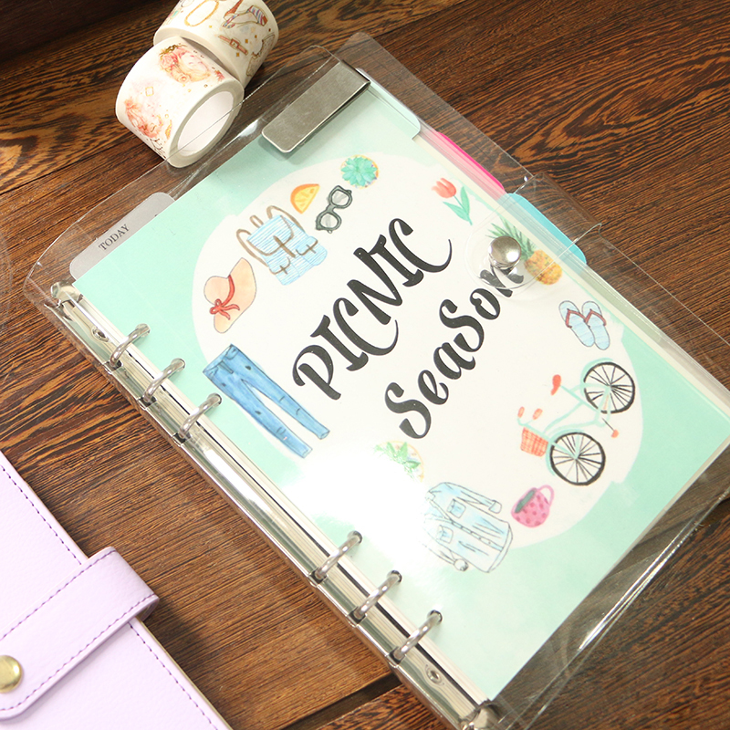 Brand New 6Holes Loose Leaf Notebook Index Divider, Sunny Planner Cute Colored PP Binder DIY Accessory