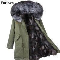 Coats Womens Women Jackets Winter Parka Real Raccoon Fur Collar jacket Thick Warm Natural Fox Fur Lining Parkas Woman 2017 Coat