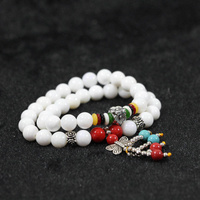 White shell 8mm round loose 36 beads with colorful pendant douple layers women fashion bracelet B973