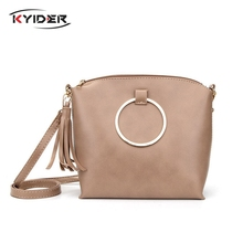 New Arrival PU Leather Women Bag Fashion Tassel Small Bag For Girl Simple Design Female Crossbody Bag Women Messenger Bag simple candy colour and metal design crossbody bag for women
