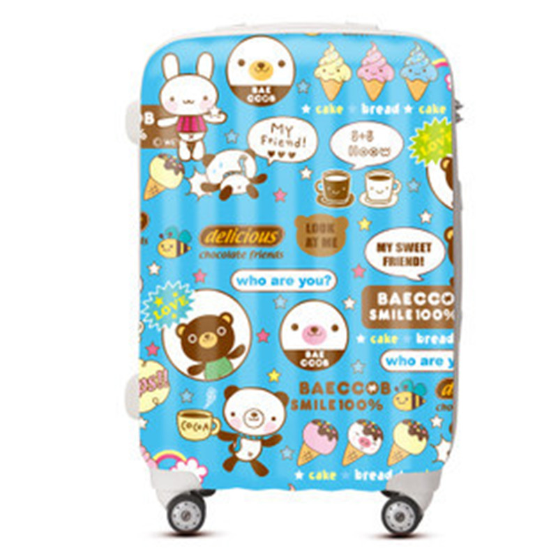 KUNDUI Women Suitcase bags, Cartoon ice cream trolley case, ABS PC Luggage men travel box, Girl fashion cute Cartoon bag valiz kundui suitcase large food and beverage car trunk refrigerator insulation families waterproof hot lunch bag cooler bags 61 l